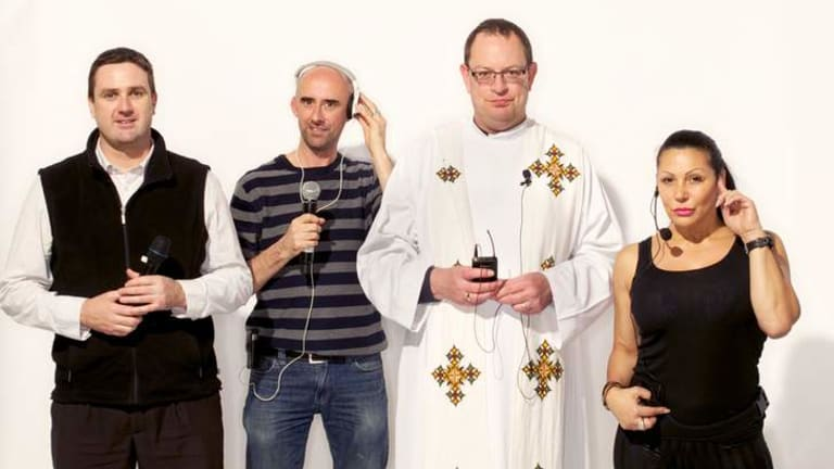 Wireless audio device users  Scott Doyle, Nick Carroll, Rev Mark Pearce and Irene Nickole.