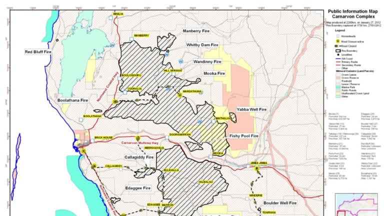 A map of the Carnarvon fires.