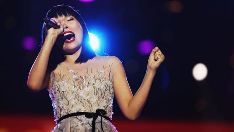 Christmas message: Singer Dami Im performs at her second Carols in the Domain on Saturday night.