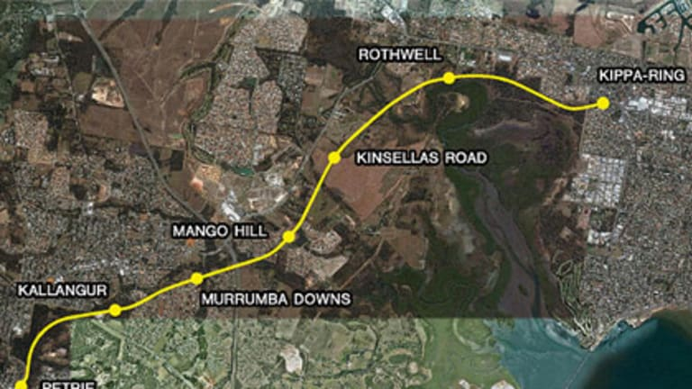 A map of the proposed Petrie to Kippa-Ring rail link.