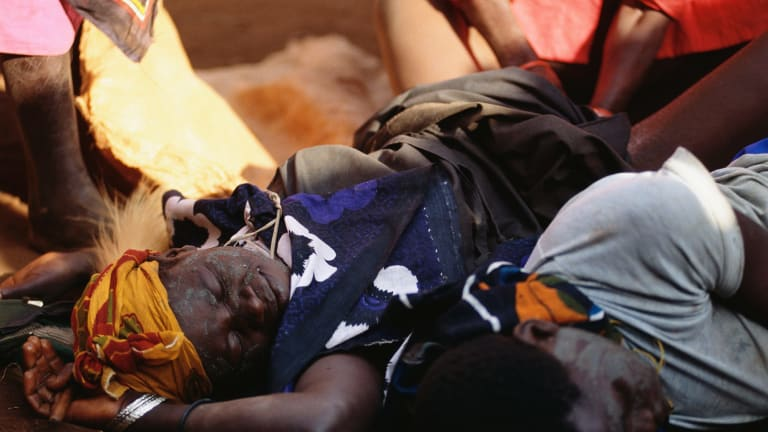 A female circumcision ceremony in Uganda, a tradition in some parts of the continent.