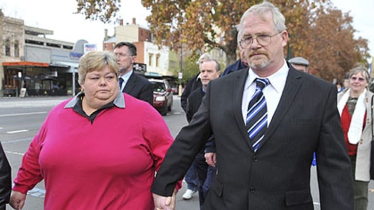 Not guilty ... Christiaan Scholl and his wife Di leave the Supreme Court in Bendigo today.