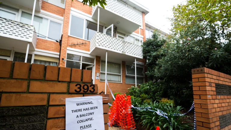 Signs warning residents to avoid their balconies have been taped up since the collapse.