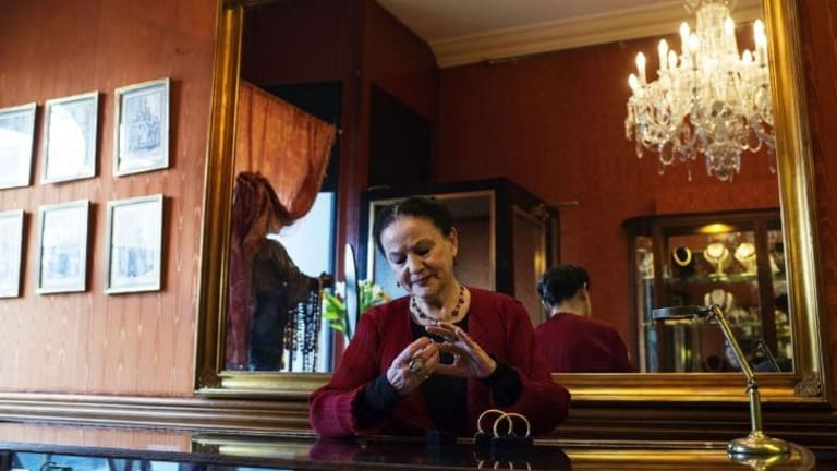 Treasures: Anne Schofield has sold jewellery in her shop in Queen Street, Woollahra for 44 years.