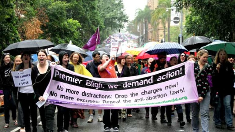 Brisbane protesters make their voices heard over an abortion trial against a Cairns couple which starts this week.