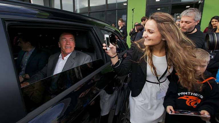 Arnold Schwarzenegger leaves the Derrimut 247 gym after delivering his motivational speech to a room full of bodybuilders and movie fans.