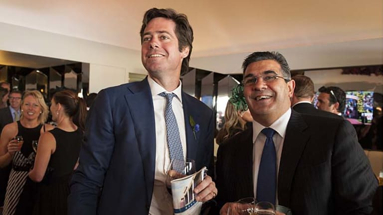 With CEO Andrew Demetriou in the Crown Marquee at Victoria Derby Day, 2012.