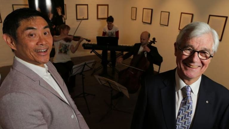 Julian Burnside AO QC (right) with composer Lyle Chan and the Seraphim Trio. Burnside has commissioned Chan to write a piece titled <i>Wind Farm Music, Dedicated to Tony Abbott</i>.