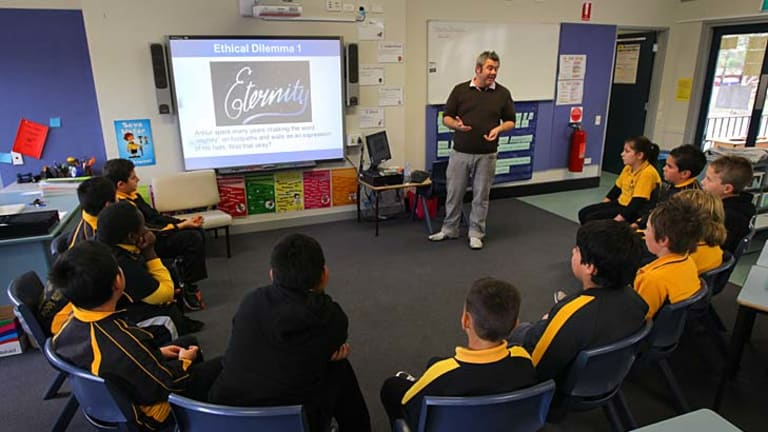Learning a moral foundation without religion ... students attend an ethics class at Hilltop Primary School in Merrylands.