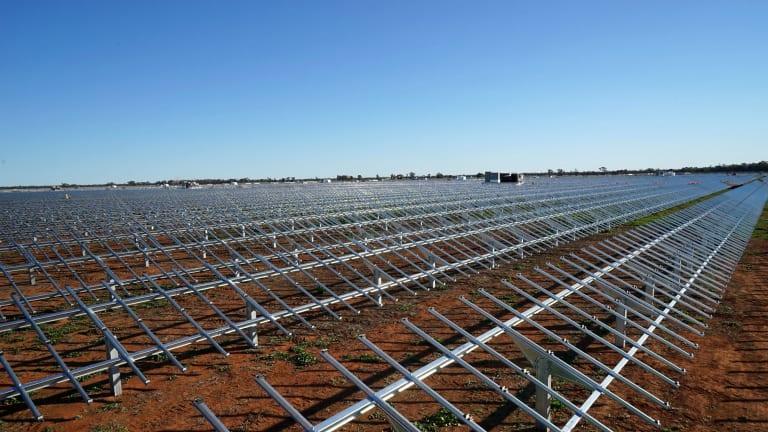 Just add panels: AGL's Nyngan solar plant under construction.