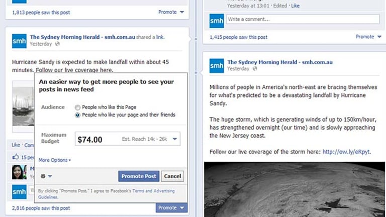 """Brands have to pay just to promote their posts to the people who """"like"""" their page."""