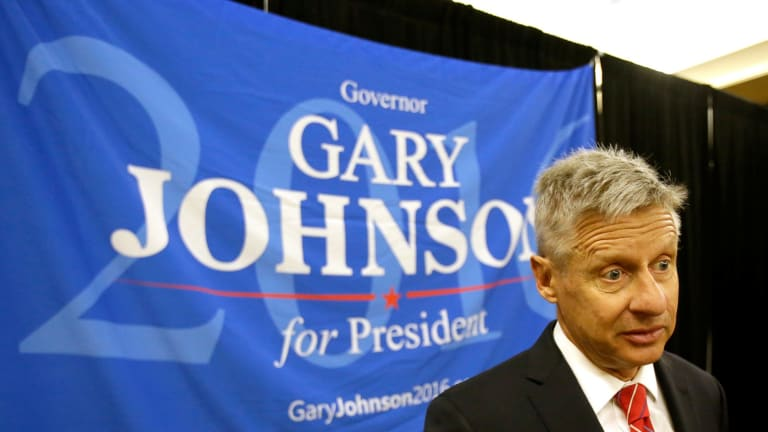 Libertarian presidential candidate Gary Johnson speaks to supporters at the National Libertarian Party Convention.