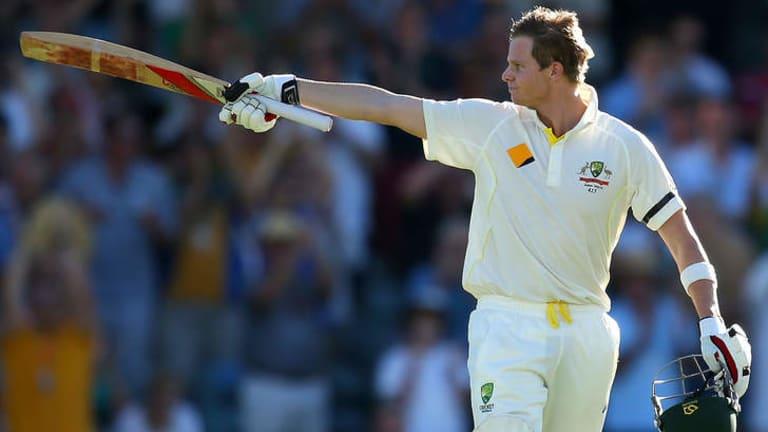 Triumphant: Steve Smith celebrates a ton in Perth.