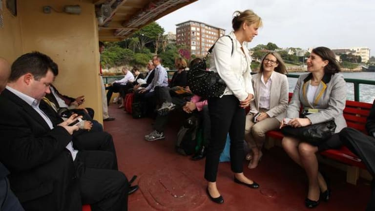 Card carrying member ... Transport Minister Gladys Berejiklian on the Neutral Bay ferry.