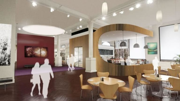 An artist's impression of the new cafe at the State Library of Victoria.
