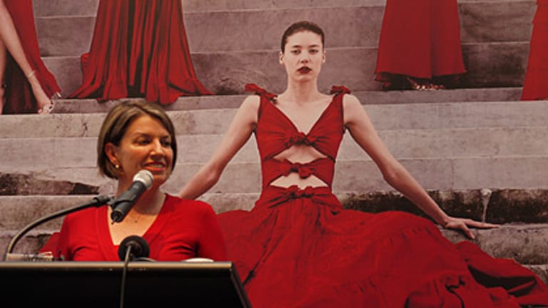 Premier Anna Bligh speaks at the recent launch of the exhibition <i>Valentino, Retrospective: Past/Present/Future</i> at GoMA.