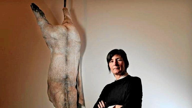 Berlinde de Bruyckere uses horse skin and hair to create haunting sculptures representing human fear and loss, yet also courage, in her powerful exhibition <i>We Are All Flesh</i>, at the Australian Centre for Contemporary Art.