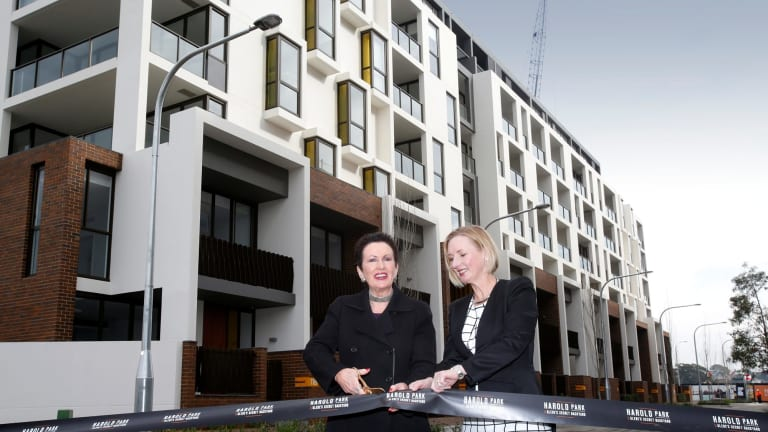 Mirvac's pride and joy - Harold Park in innercity Sydney. CEO Susan Lloyd-Hurwitz opening the apartment precinct with Sydney Lord Mayor Clover Moore.