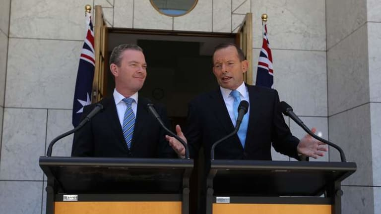 Exercise in bad faith: Education Minister Christopher Pyne and Prime Minister Tony Abbott at Parliament House.