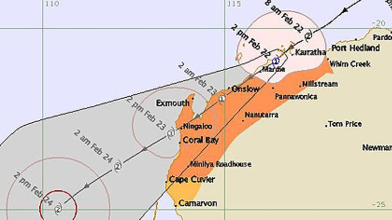 The latest tracking path of tropical cyclone Carlos from the Bureau of Meteorology.