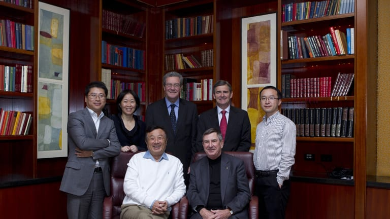 Huawei's first local board was formed in Australia in June 2011. From the left: Jeff Liu, regional president; Chen Lifang, global director; Alexander Downer, independent director; John Brumby, independent director; Guo Fulin, Australia CEO with Ren Zhengfei, Huawei founder and CEO and John Lord, Australian Chairman in the front row.