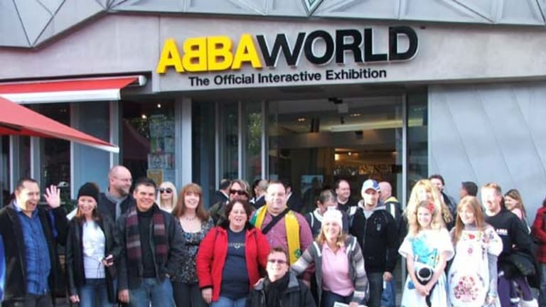 Dancing Queens ... some of the hard core fans assemble before they enter ABBAWorld. Photo supplied by Ian Cole.