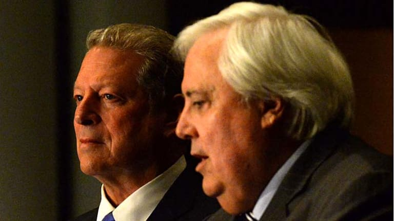 New deal: PUP leader Clive Palmer and former US vice-president Al Gore. Mr Palmer says the party will vote to abolish the carbon tax.