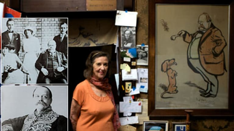 Pride ... Anne Fairbairn, main, at the home of Martin Sharp, with a cartoon of Reid, whose bulging stomach and bushy moustache cartoonists exploited; a family portrait, above, belonging to Ms Fairbairn; and a formal portrait.