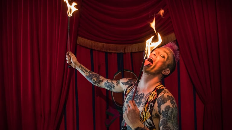 Mitch Jones, a fire-eating performer at Circus Oz.