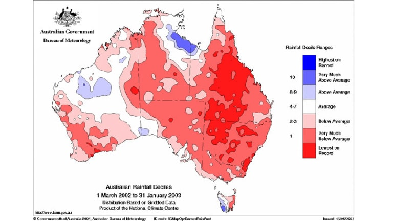 The el Nino event in 2002-03, while considered to be a relatively weak one, had a big impact on Australia's rainfall.