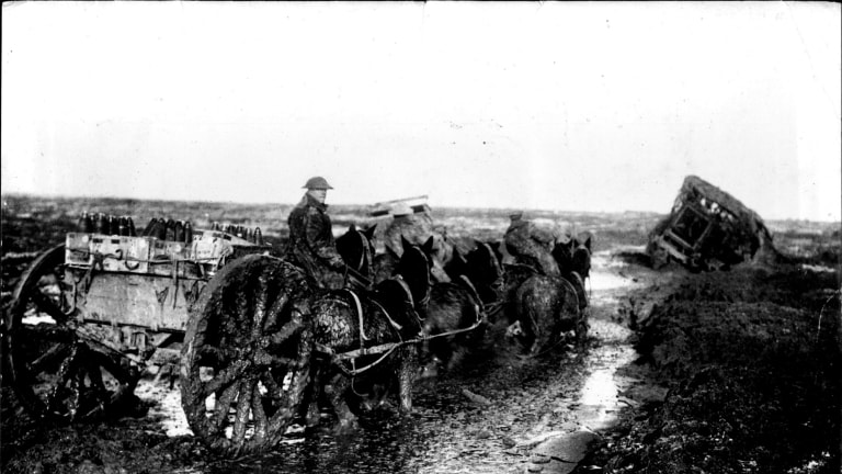 Ammunition limbers going up the line through the mud, near Flers, November 1916. Photo: Camera Press, London