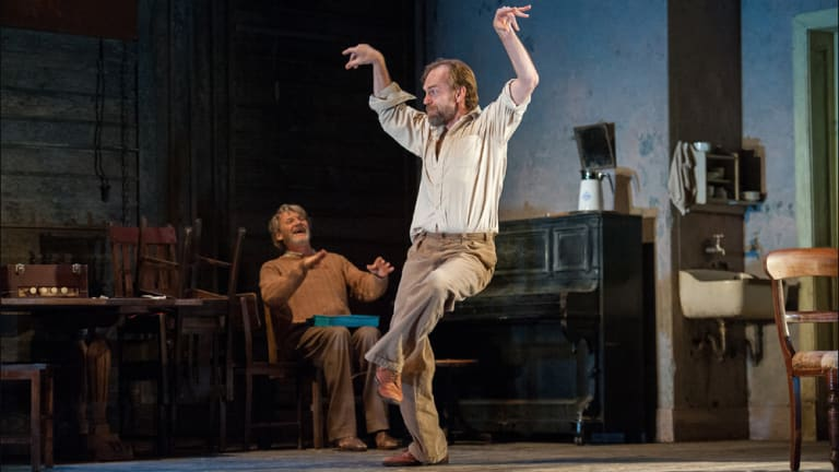 Uniformly brilliant ... Anthony Phelan and Hugo Weaving performing in New York.