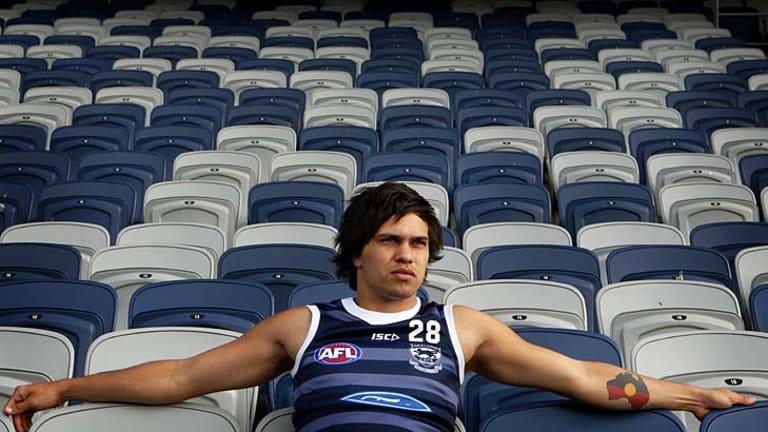 On the bench: Geelong footballer Allen Christensen.