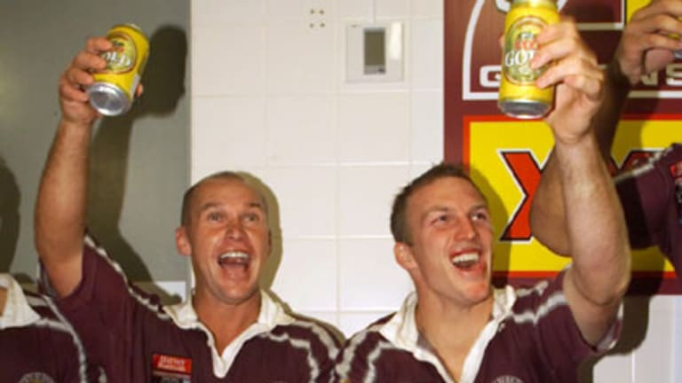 Allan Langer and Darren Lockyer celebrate in the dressing room after a State of Origin win.