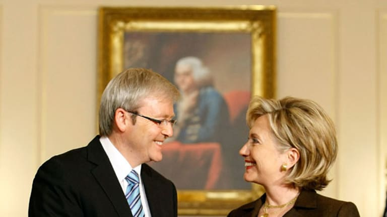 WikiLeaks has exposed details of this 2009 meeting between then prime minister Kevin Rudd and US Secretary of State Hillary Clinton.