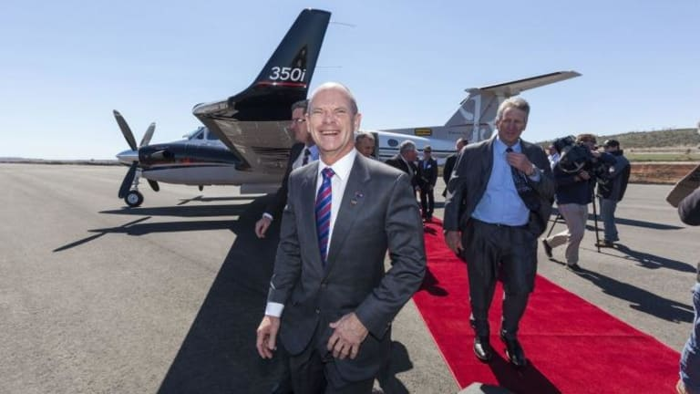 Queensland Premier Campbell Newman being welcomed to Wellcamp.