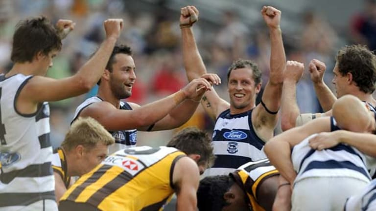Exhaustion and relief as the siren sounds with Geelong nine points in front.