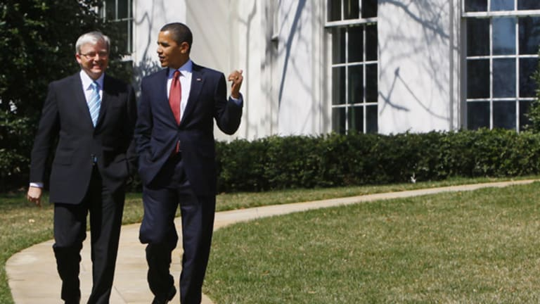Kevin Rudd and Barack Obama share a light-hearted moment at the White House.