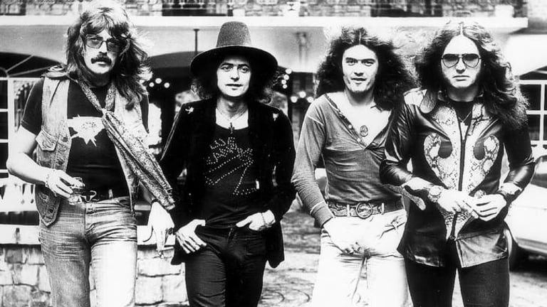 Deep Purple in Australia to play Sunbury in '75. From left, Jon Lord, Ritchie Blackmore, Glenn Hughes, David Coverdale.