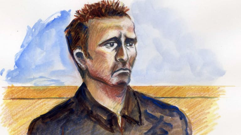 In the dock ... An artist's sketch of Adrian Ernest Bayley in court.