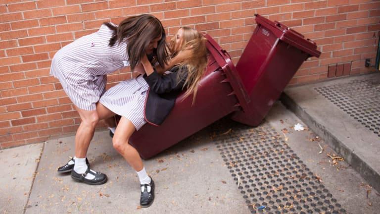 Ja'mie fighting on ABC's <i>Private School Girl</i> episode last night.