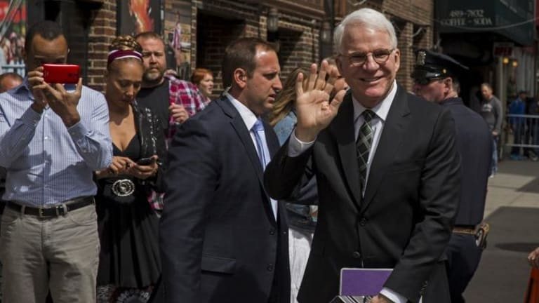 Steve Martin arrives at the Ed Sullivan Theatre in Manhattan for the final show.