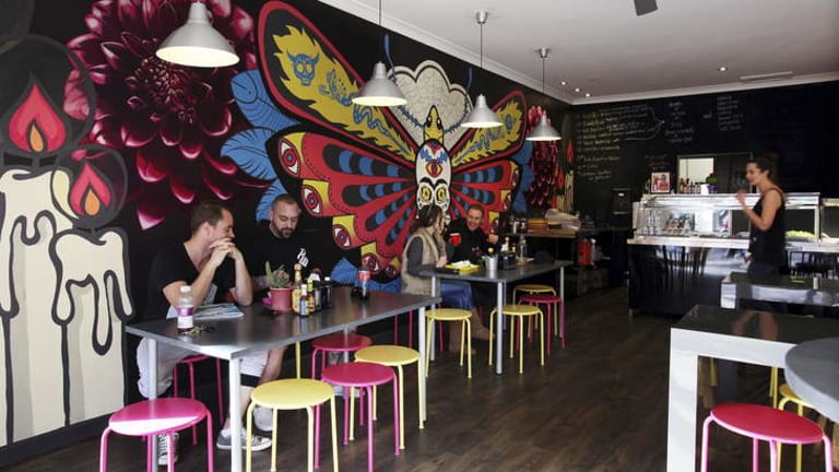 Striking: The mural at Cactoblastis took two people 80 hours to paint.