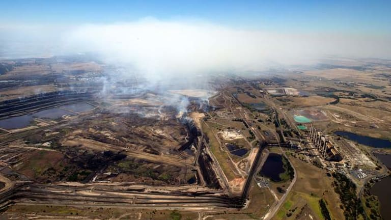 Smoke from the coal mine fire near the Hazelwood power plant.