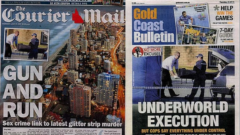 The Courier-Mail and Gold Coast Bulletin editions claiming shooting victim Colin Edgar Lutherborrow was involved in child prostitution and pornography.
