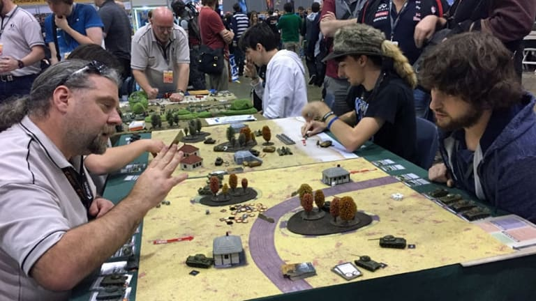 Gamers rolling out the heavy artillery with TANKS in the tabletop section of PAX Australia 2016.