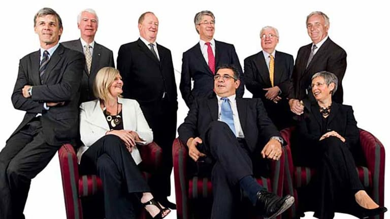 The AFL Commission in 2010 (from left) Chris Langford, Graeme John, Sam Mostyn, Chris Lynch, Mike Fitzpatrick (chairman), Andrew Demetriou (chief executive officer), Bill Kelty, Bob Hammond and Justice Linda Dessau.