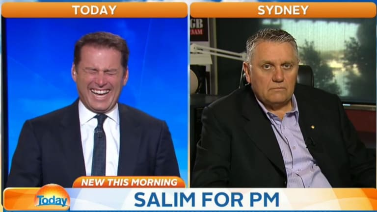Still from the Today show showing Karl Stefanovic and Ray Hadley reacting to Salim Mejaher's announcement he wants to one day be Australian prime minister.