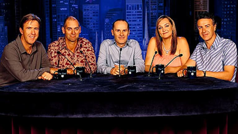 When comic Rob Sitch, second from left, 'dropped the f-bomb' on The Panel in 2001, only two complaints were made to the then Australian Broadcasting Authority. This marked a turning point in Australia's tolerance for swear words, according to some.