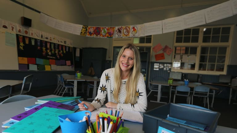 Down to work: Hampton Primary School teacher Caitlin Shulman has been teaching for one term and loves it.